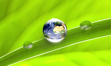 Environmentally friendly. Earth water droplet.