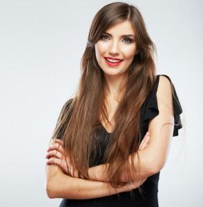 smiling woman black shirt