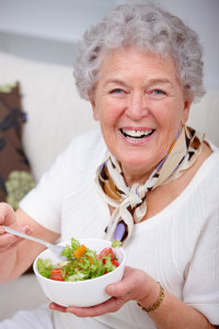OlderWomanEatingSalad