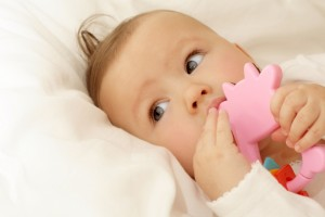 cute teething baby